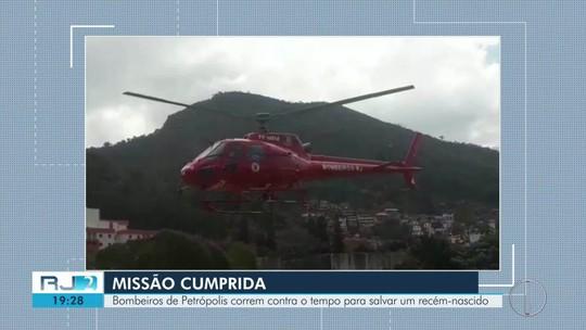 Bombeiros de Petrópolis correm contra o tempo para salvar vida de recém-nascido