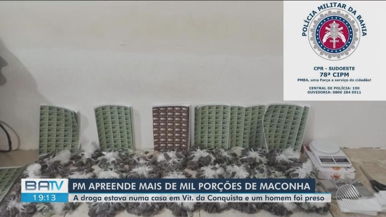 PM apreende mais de 1,3 mil porções de maconha numa casa em Vitória da Conquista