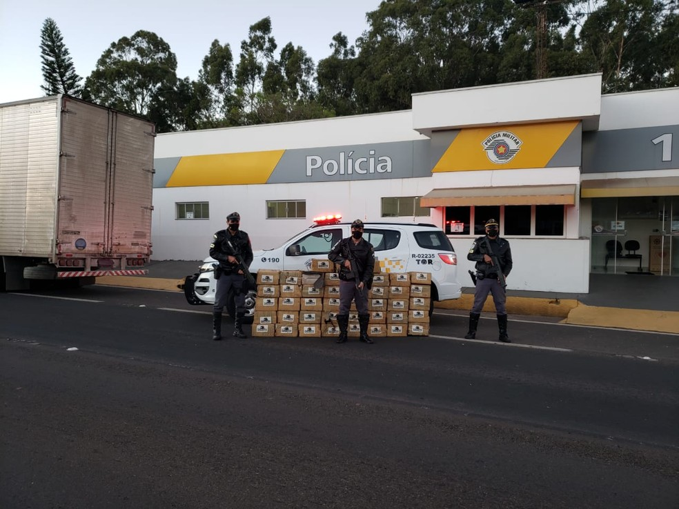 Grande quantidade de maconha foi apreendida na SP-270 — Foto: Polícia Rodoviária