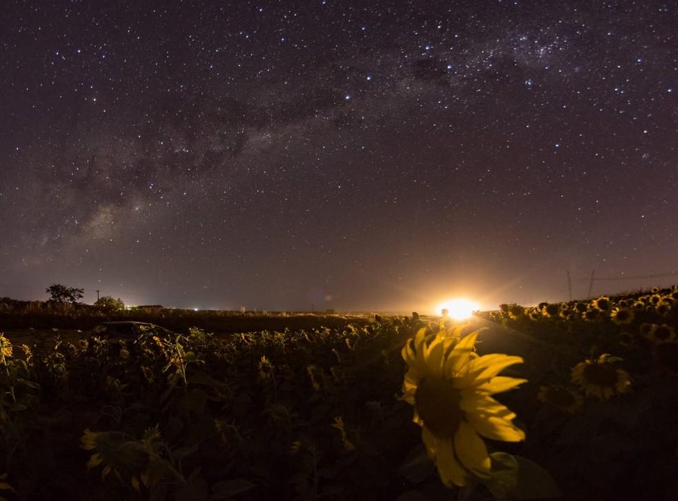 Céu de Brasília durante a passagem do cometa Neowise — Foto: Léo Caldas/Arquivo pessoal