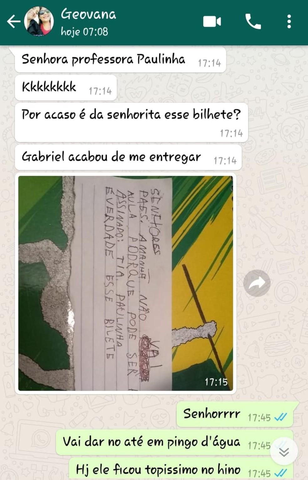 """Mãe desconfiou da """"procedência' do bilhete e mandou mensagem para a professora Bocaina (Foto: Arquivo Pessoal)"""