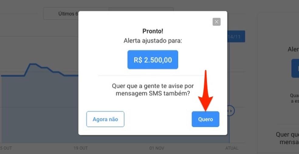 Ação para iniciar a configuração para receber alertas de preços de um produto em seu celular — Foto: Reprodução/Marvin Costa