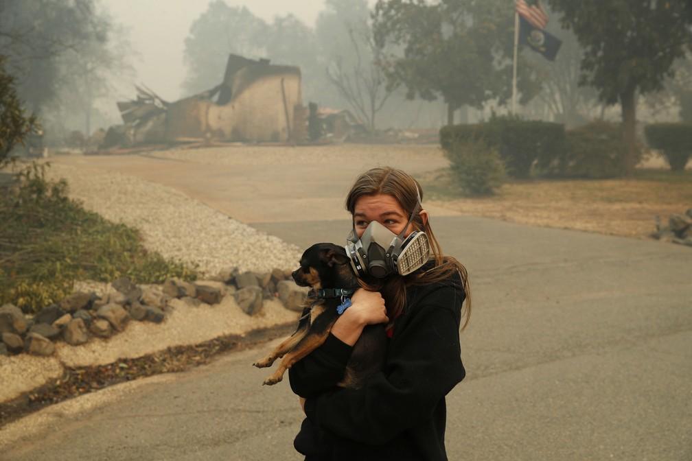 Jovem foge com o cachorro de cidade atingida por incêndio no norte da Califórnia — Foto: John Locher/AP Photo
