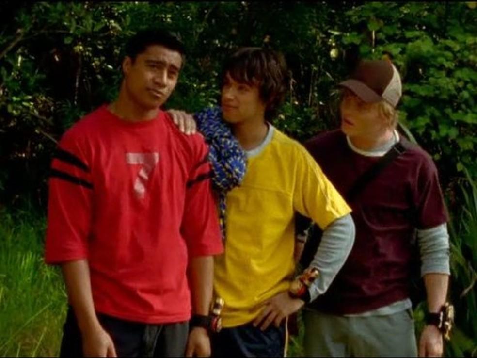 Pua Magasiva, Glenn McMillan e Adam Tuominen em 'Power Rangers: Ninja storm', em 2003 — Foto: Divulgação