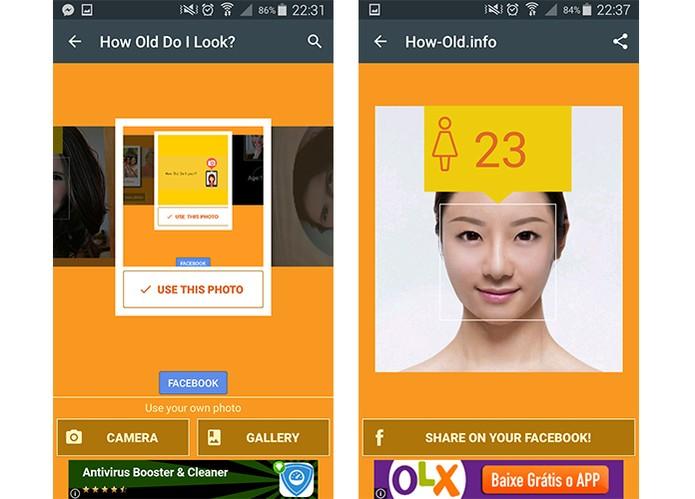 App oferece botão para compartilhar resultado da idade diretamente no Facebook (Foto: Reprodução/Barbara Mannara)