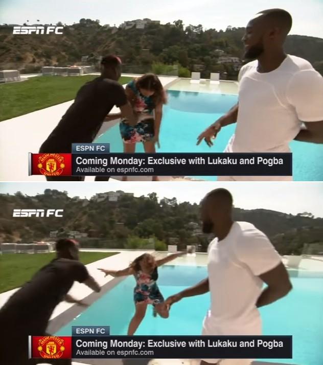 Pogba joga repórter Alexis Nunes em piscina