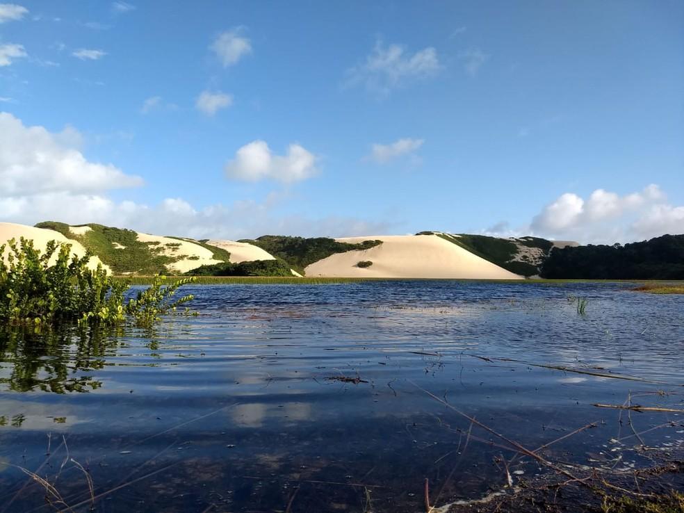 Lagoa de Genipabu está cheia — Foto: Tiego Costa