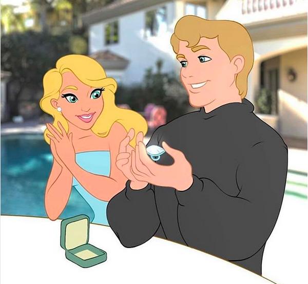 Uma montagem recente compartilhada por Paris Hilton com ela como uma Princesa da Disney (Foto: Instagram)