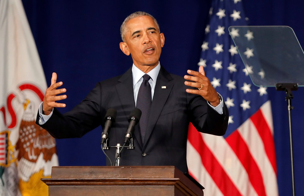-  Barack Obama discursou na Universidade de Illinois em Urbana-Campaign  Foto: Reuters