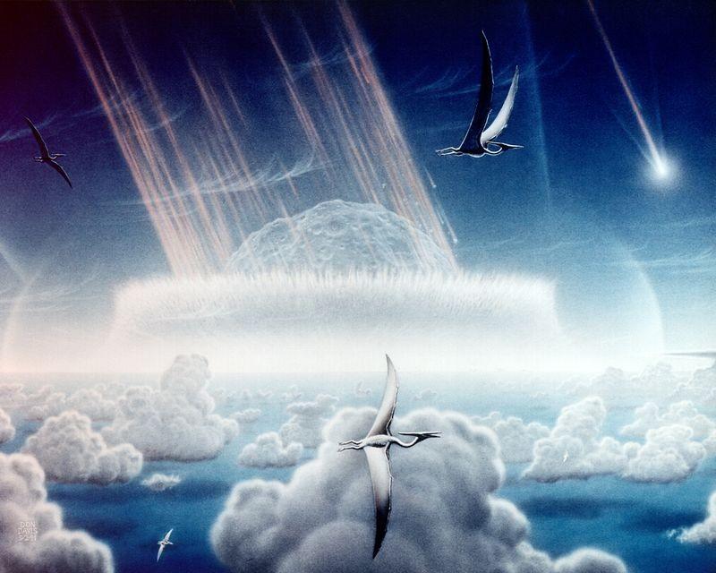 Representação artística do asteroide que dizimou os dinossauros (Foto: Wikimedia Commons)