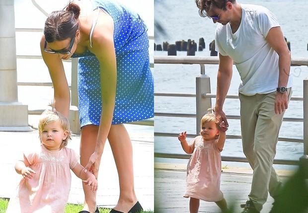 Irina Shayk e Bradley Cooper com a filha, Lea (Foto: BackGrid)