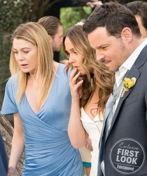 Ellen Pompeo, Camilla Luddington e Justin Chambers: casamento em Grey's Anatomy (Foto: Reprodução Entertainmnet Weekly)