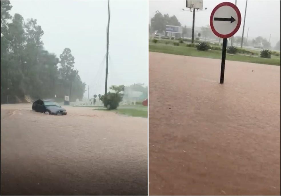 Entrada da cidade de Itaporanga (SP) é tomada por água após forte chuva — Foto: Arquivo Pessoal