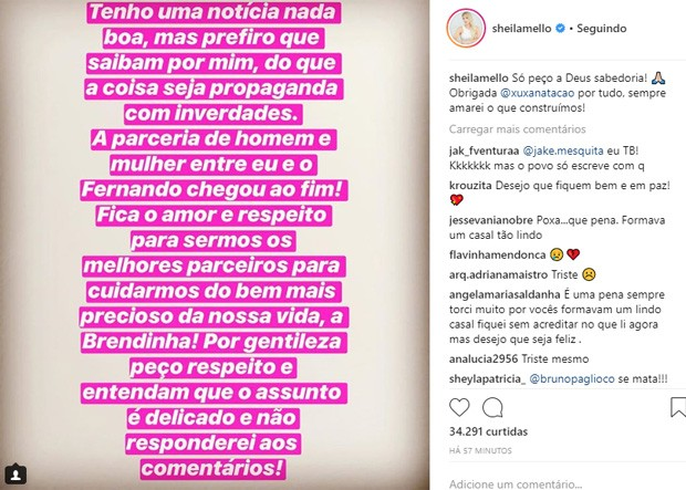 Sheila Mello anuncia separação de Fernando Scherer (Foto: Reprodução/Instagram)