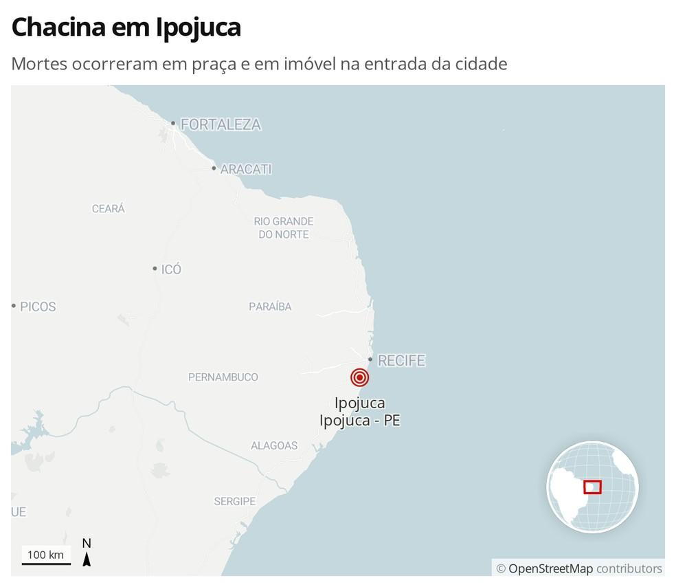 Chacina deixou cinco mortos e 12 feridos em Ipojuca, na Região Metropolitana do Recife — Foto: Arte/G1