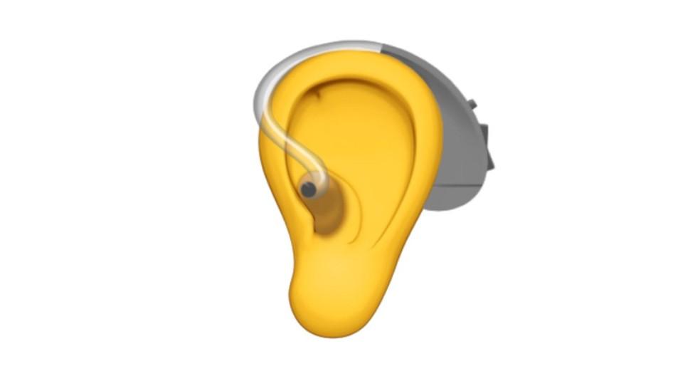 Um dos novos emojis propostos pela Apple é de orelha com aparelho auditivo (Foto: Divulgação)