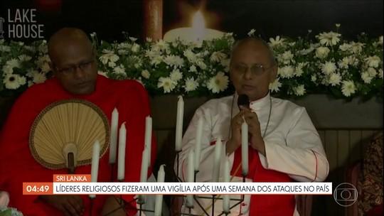 Líderes religiosos fizeram vigília após uma semana dos ataques no Sri Lanka