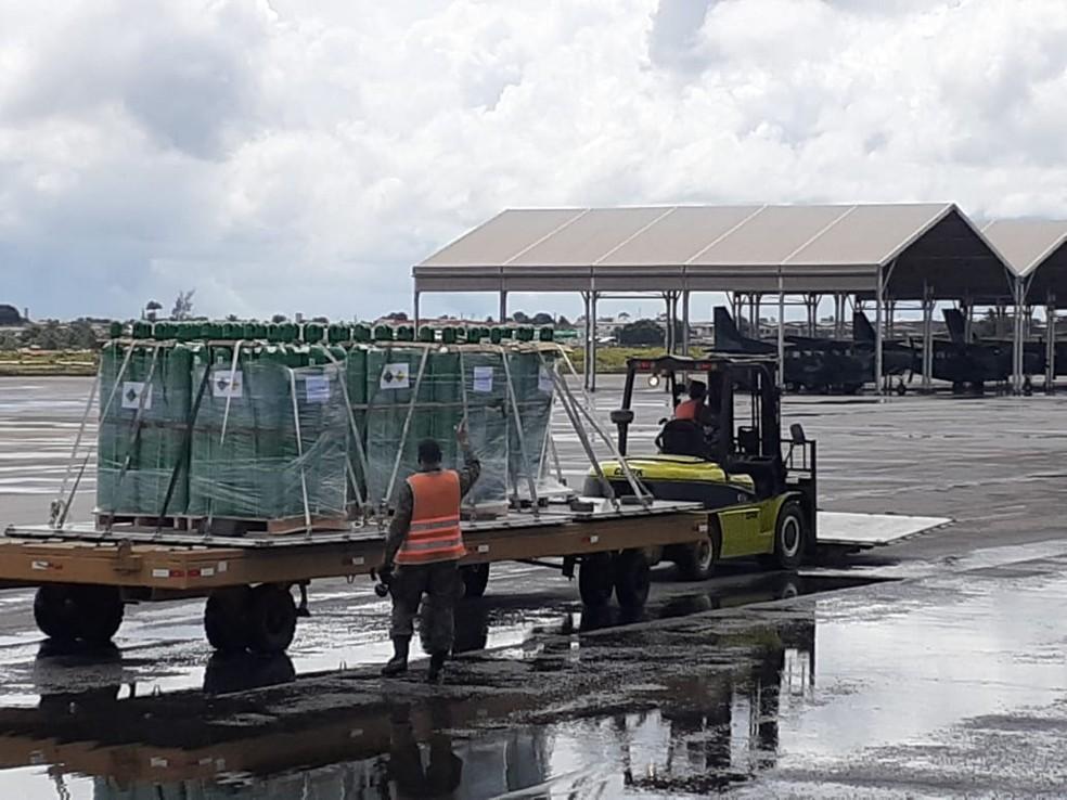 Rio Grande do Norte recebe 160 de cilindros de oxigênio — Foto: Julianne Barreto/Inter TV Cabugi