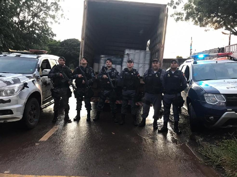 Carga foi recuperada — Foto: Polícia Militar/Divulgação