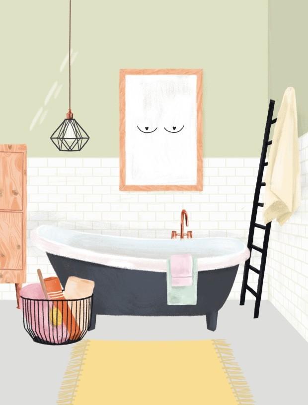 Ilustração de banheiro (Foto: Ilustração Malena Flores)