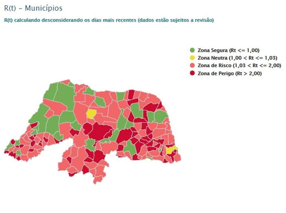 Ao todo 137 municípios tem taxa de transmissibilidade acima de 1,03 no RN — Foto: LAIS