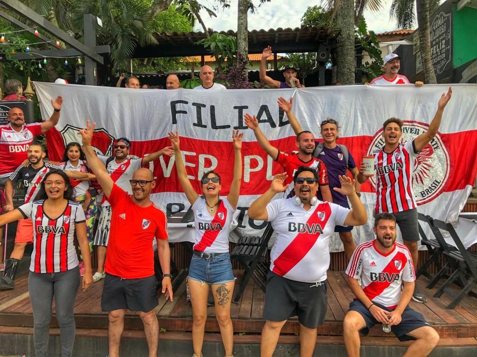 Grupo está confiante na vitória do River Plate — Foto: Gustavo Garcia/G1