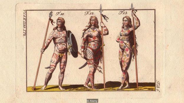 Os guerreiros pictos pintavam o rosto e o corpo independentemente do gênero (Foto: Alamy/BBC)