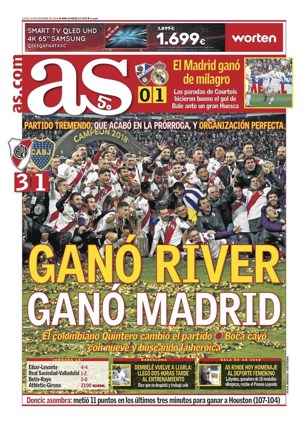 Manchete do AS após final da Libertadores — Foto: Reprodução / AS