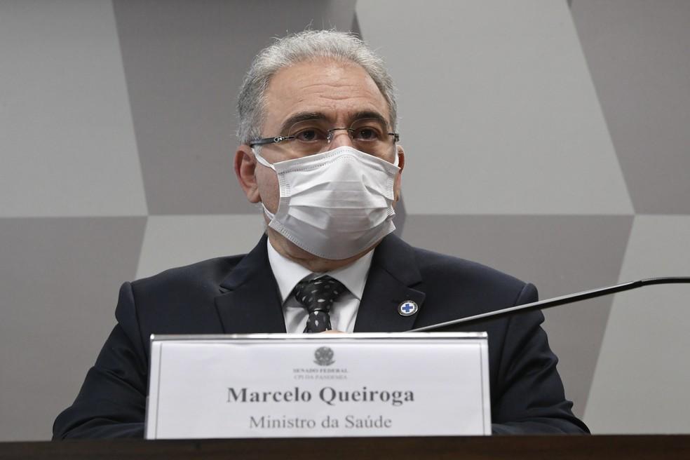 Marcelo Queiroga durante 2º depoimento para a CPI da Covid. — Foto: Edilson Rodrigues/Agência Senado