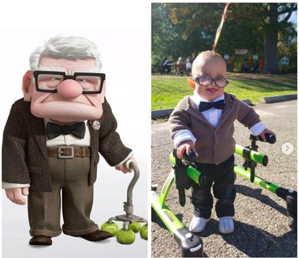 O pequeno Brantley Morse fantasiado como o personagem Carl Fredricksen de Up - Altas Aventuras (2009) (Foto: Instagram)