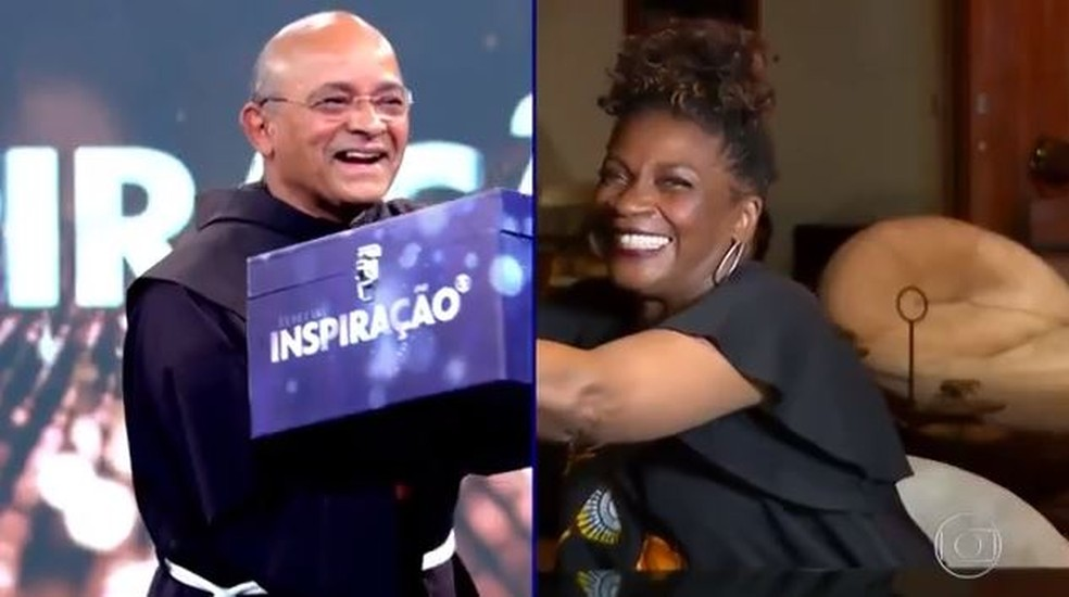 Zezé Motta entregou o prêmio a frei David — Foto: TV Globo