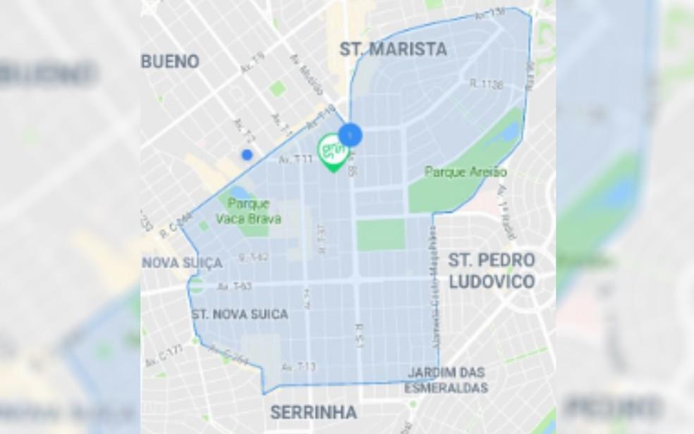 Mapa da região atendida pelos patinetes elétricos em Goiânia — Foto: Divulgação