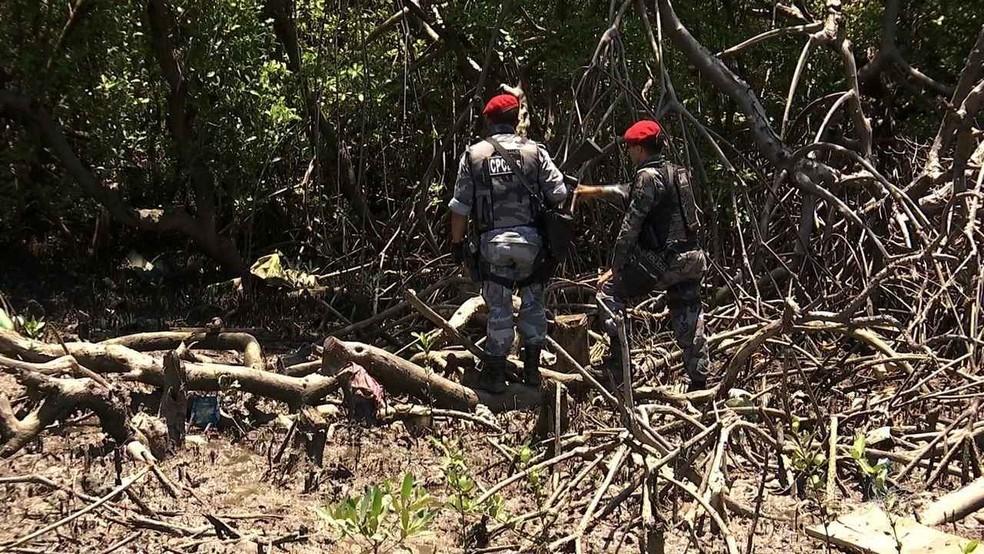 Mulheres foram torturadas e decapitadas em área de mangue na Grande Fortaleza (Foto: TV Verdes Mares/Reprodução)