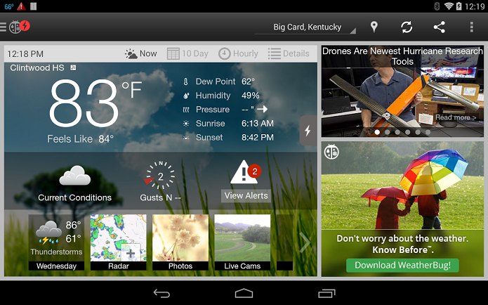 WeatherBug é um app que mostra as condições climáticas no Android (Foto: Divulgação/WeatherBug )
