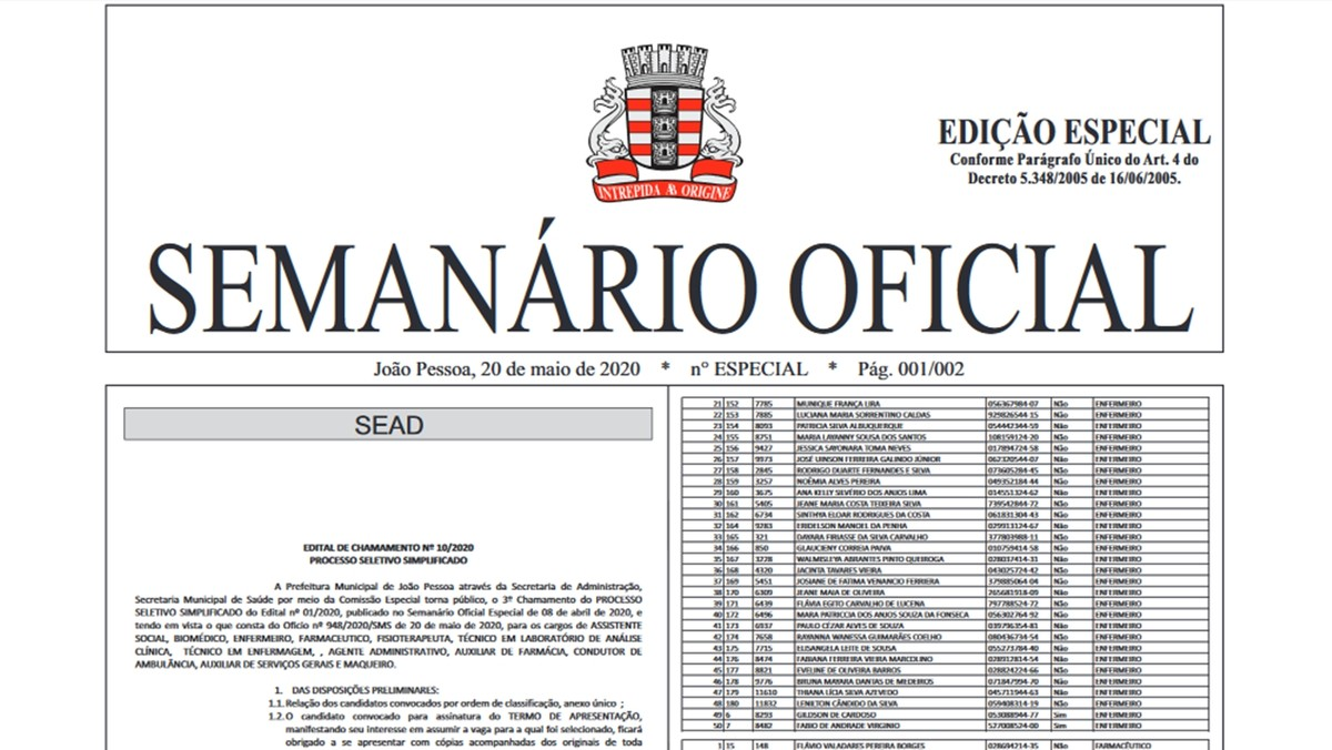 Prefeitura de João Pessoa convoca mais de 400 profissionais para  enfrentamento do coronavírus | Paraíba