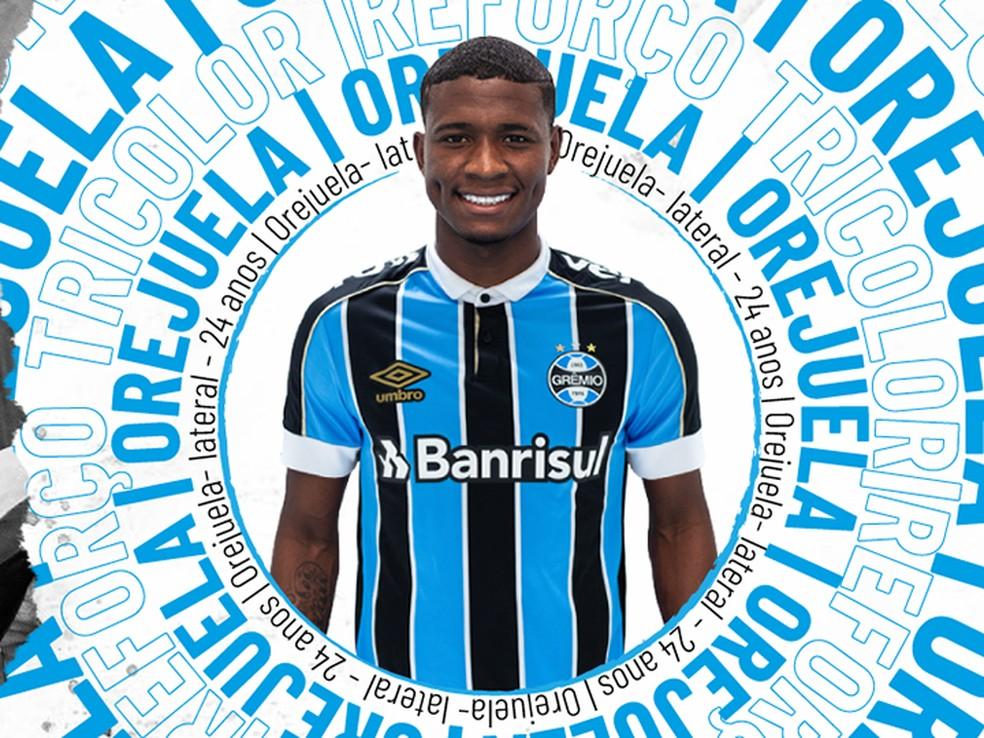 Anúncio oficial de Orejuela — Foto: Reprodução / Grêmio