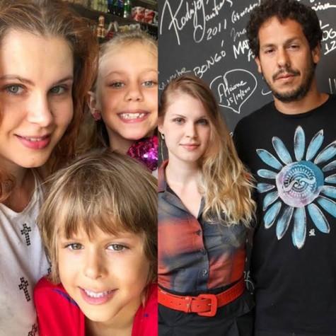 Carolinie Figueiredo com os filhos e com o ex-marido, Guga Coelho (Foto: Reprodução)