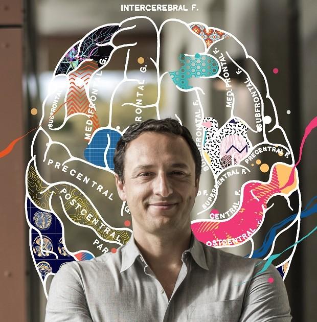 O geneticista brasileiro dispõe de 3 mil minicérebros em seu laboratório na Universidade da Califórnia em San Diego  (Foto: Ilustração de Davi Augusto sobre foto de David Paul Morris)