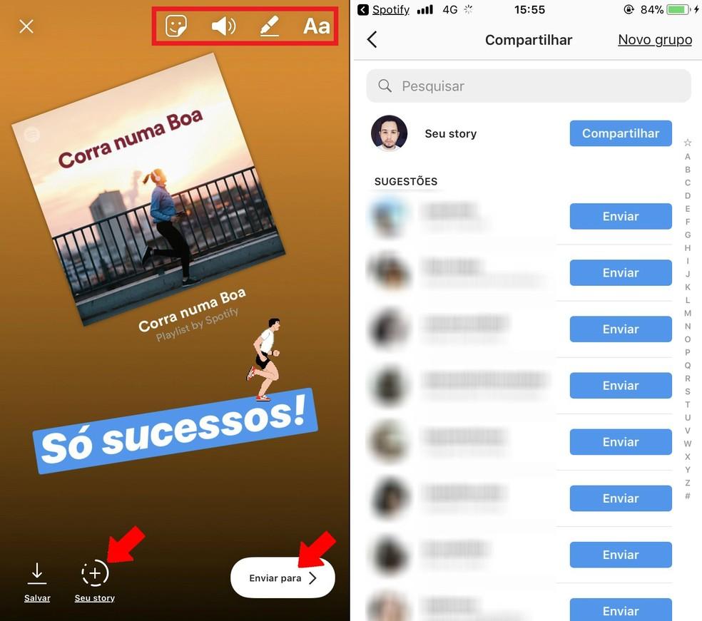 Envie seu Instagram Story com a playlist do Spotify para seus amigos (Foto: Reprodução/Rodrigo Fernandes)