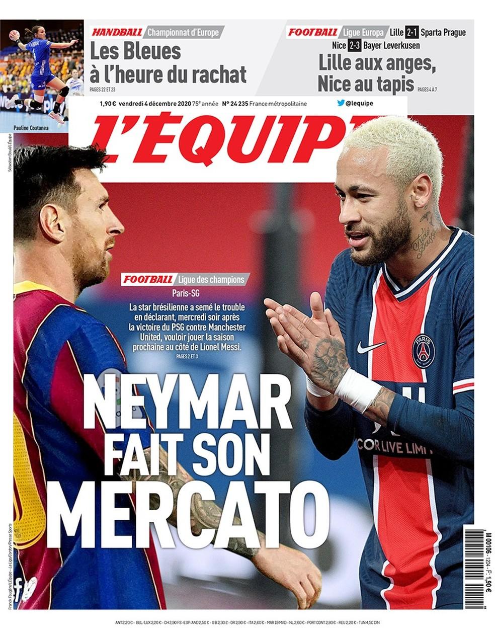 """Capa do """"L'Equipe"""": """"Neymar agita o mercado"""" — Foto: Reprodução/L'Equipe"""