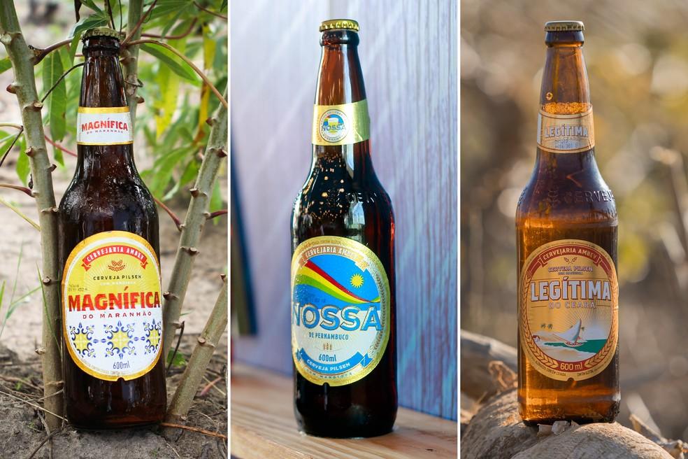 Cervejas Magnífica (MA), Nossa (PE) e Legítima (CE) feitas à base de fécula de mandioca — Foto: Divulgação/Ambev