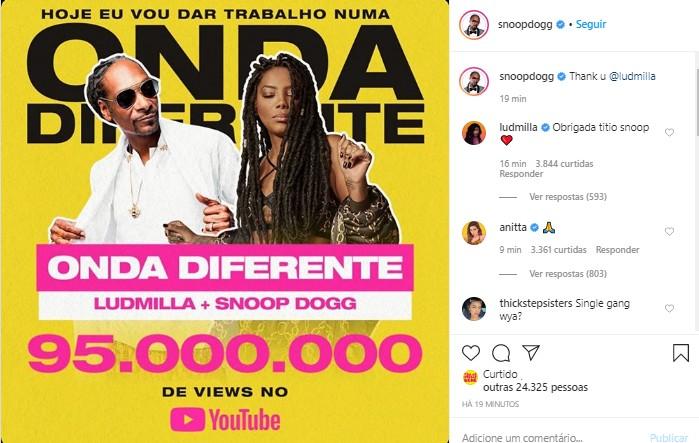 Snoop Dogg agradece Ludmilla (Foto: Reprodução/Instagram)
