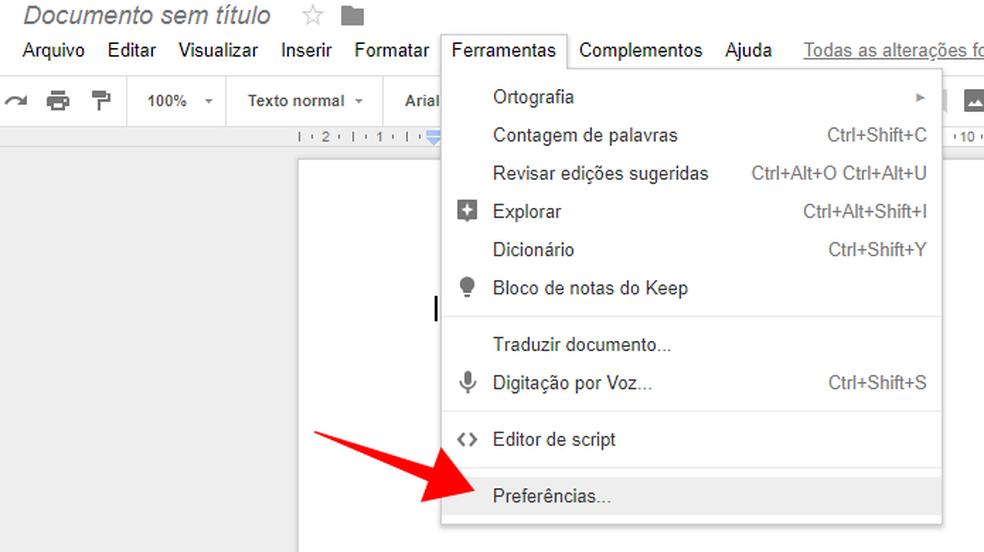 Acesse as preferências do Google Docs (Foto: Reprodução/Paulo Alves)