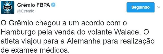 Grêmio confirma negociação de Walace com o Hamburgo  (Foto: Reprodução / Twitter)