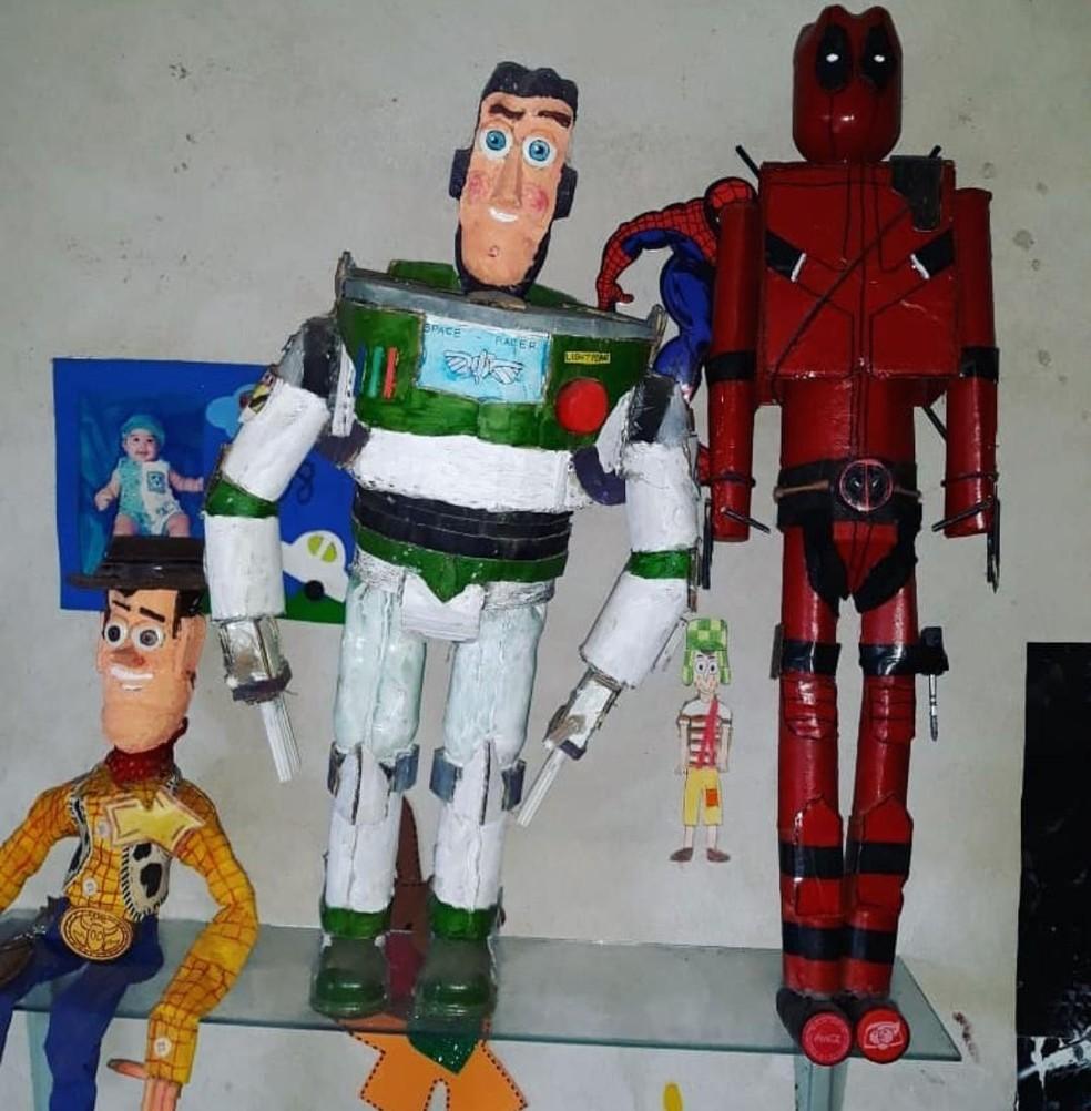 Personagens de animações são feitos com embalagens  — Foto: Arquivo pessoal