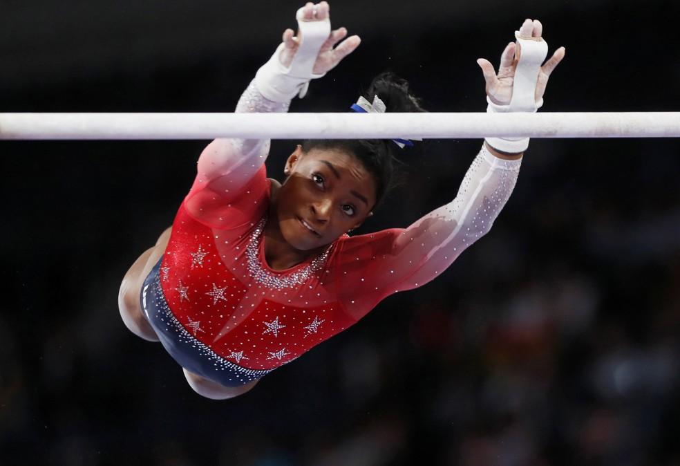 Simone Biles no Mundial de Stutggart — Foto: Reuters