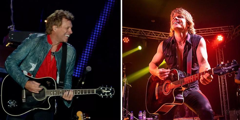 Jon Bon Jovi 'real', no Rock in Rio de 2013, e vocalista de banda cover brasileira, Rick Nunes — Foto: Flavio Morais / G1 e Facebook oficial do artista