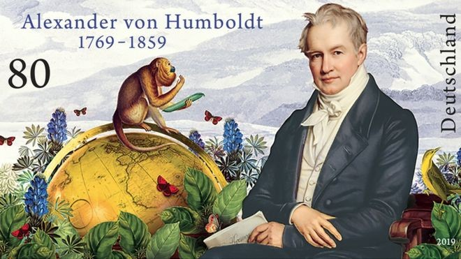 This month, the German government printed postage stamps to commemorate the 250th anniversary of Alexander von Humboldt's birth. (Photo: BBC's Ministry of Finance)