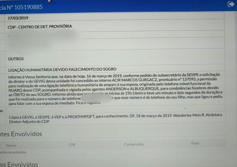 Relatório interno sobre ligação do senador Acir Gurgacz (PDT-RO) para a família — Foto: Reprodução