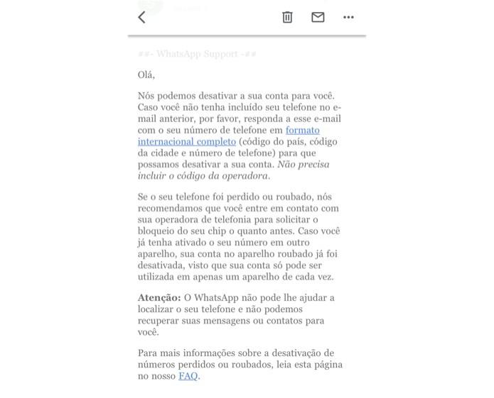 Mensagem informa que conta foi desativada no WhatsApp — Foto: Reprodução/Helito Beggiora